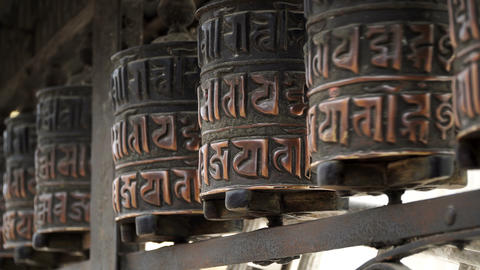 Prayer drums in Swayambhunath Footage