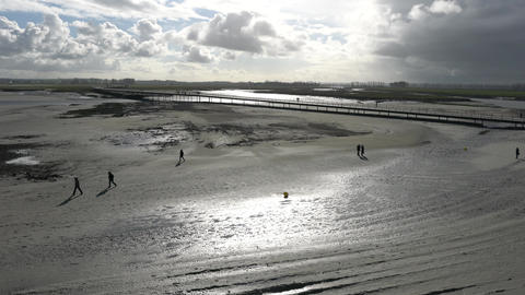Mont-Saint-Michel bridge at low tide Live Action