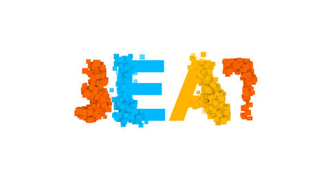 text BEAT from letters of different colors appears behind small squares. Then Animation