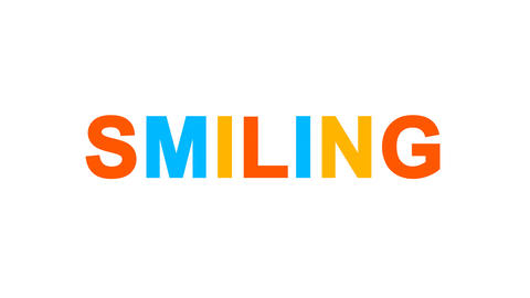 text SMILING from letters of different colors appears behind small squares. Then Animation