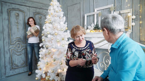 A nice woman gives a New Year gift to her parents. Christmas holidays Footage