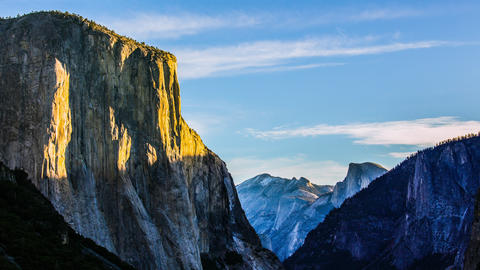 Time Lapse - Morning Sunrise on El Capitan in Yosemite National Park at Dawn - Footage