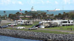 USA Florida Port Canaveral waterfront restaurant Fishlips Pavilion at Jetty Park Footage