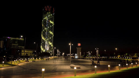 Alphabetic Tower at night in the city Batumi, Georgia Live Action