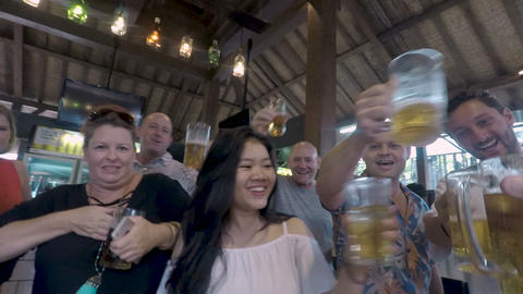 POV of a group of happy attractive people cheering and toasting with glasses of Footage