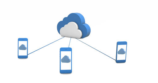 Smartphones connect to the cloud storage. Concept Animation
