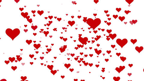 Valentines Day Hearts Flying. Background Looped video. White BG Animation