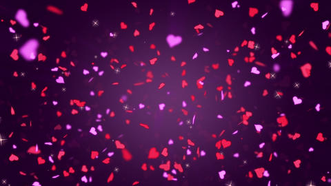 Valentines Day Hearts Falling. Background Looped video GIF