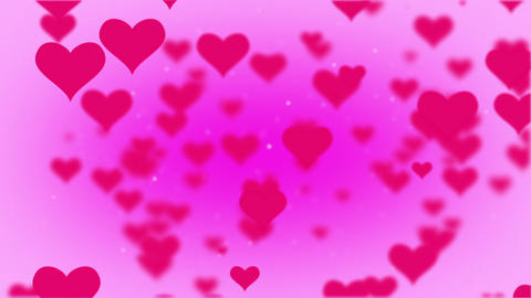 Valentines Day Hearts Flying. Background Looped video. Rose BG Animation