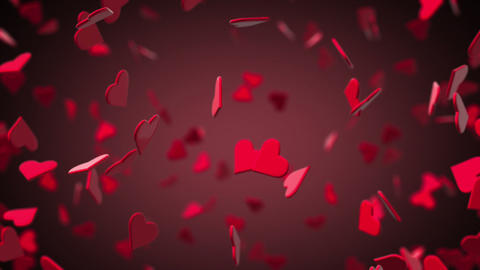 Valentines Hearts Flying 3D with Background Animation