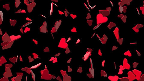 Valentines Hearts Flying 3D with Alpha Stock Video Footage