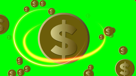 Dollar animation, golden coin with american dollar symbol , fiery ellipses Animation