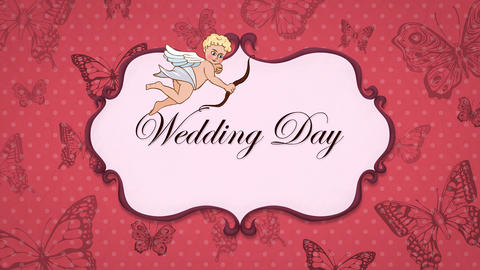 Wedding Day - Vintage Greeting Card with Cupid 애니메이션