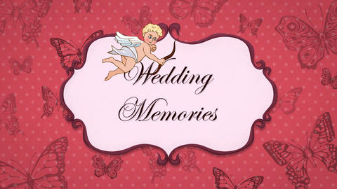 Wedding Memories - Vintage Greeting Card with Cupid 애니메이션