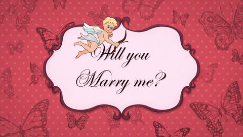 Will you Marry me? - Vintage Greeting Card with Cupid Animation