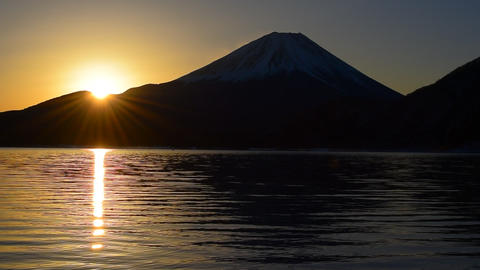 Mt.Fuji of Sunrise from Lake Motosu Japan 01/26/2018 Footage