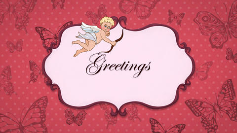 Greetings - Vintage Greeting Card with Cupid 애니메이션