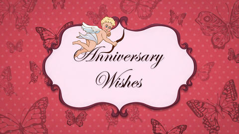 Anniversary Wishes - Vintage Greeting Card with Cupid 애니메이션