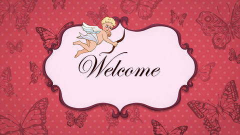 Welcome - Vintage Greeting Card with Cupid 애니메이션