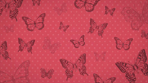 Vintage animated background with butterflies 애니메이션