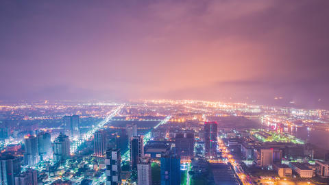 Time Lapse - Beautiful Aerial Skyline of KaoHsiung City, Taiwan at Night - 4K 영상물