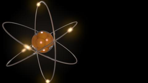 Orange stylized atom and electron orbits Footage