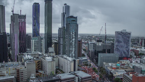 Melbourne Central Business District Skyline in a Storm Footage