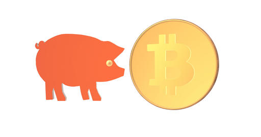 Crypto currency is flying into the piggy bank Animation