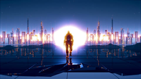 A futuristic soldier on the background of future city with a detonated atomic Animation
