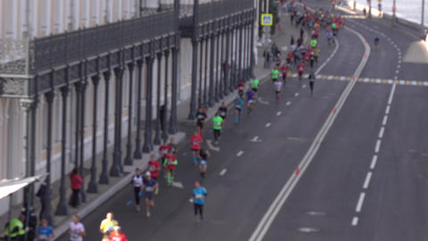 Defocused city marathon runners. Healthy lifestyle... Stock Video Footage