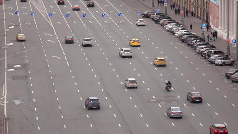 RUSSIA, MOSCOW - SEPTEMBER, 25, 2016. Multiple lanes one way street in city Footage