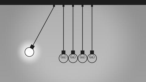 Balancing bulb-like pendulum balls on wires. Newton's cradle. Idea, contact and Footage