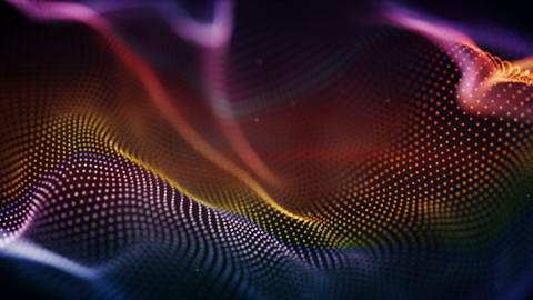 Colorful cyber surface seamless loop sci-fi 3D animation with DOF Animation