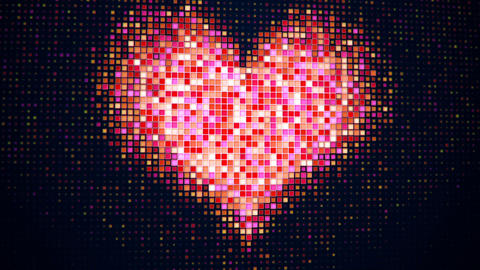 Pixelated heart shape on digital screen seamless loop Animation