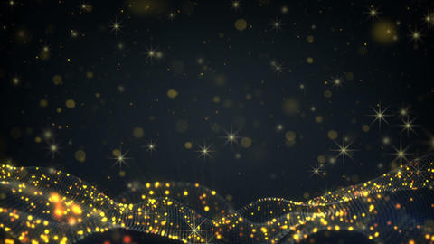 Flying stars and gold particles seamless loop festive animation Animation