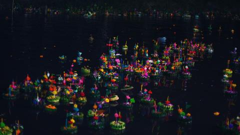 Floating krathongs at Loy Krathong festival in Thailand Footage