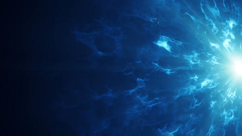 Blue fractal clouds on edge abstract sci-fi loopable background Animation