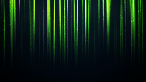 Particles in vertical green light beams loopable animation Animation