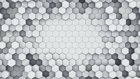 White hexagonal cells seamless loop abstract 3D animation Animation