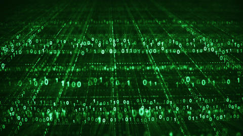 Dolly shot of green binary code grid seamless loop animation Animation