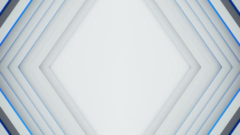 White and blue rhomb frame 3D render seamless loop background Animation