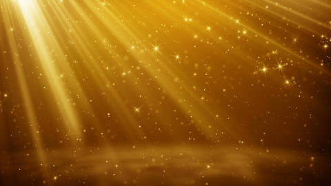 Gold particles and stars flying in light rays loopable background Animation