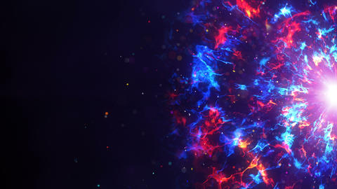 Red and blue fractal clouds on edge sci-fi loopable background Animation