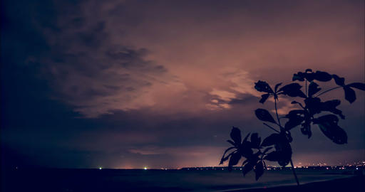 Time Lapse, Starry And Cloudy Night Over Playa Agujas, Costa Rica Live-Action