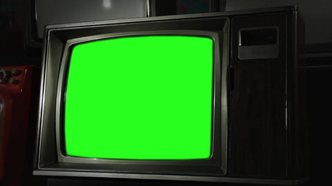 Vintage Tv With Green Screen Footage