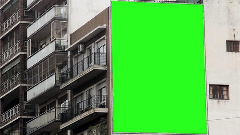 Billboard With Green Screen On A Building Live Action