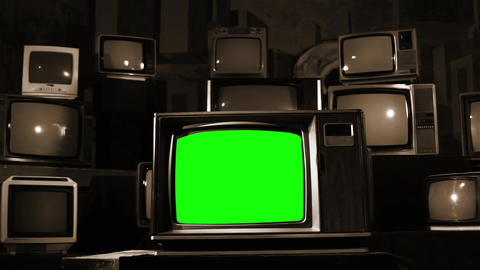 Vintage Tv With Green Screen. Sepia Tone Live Action