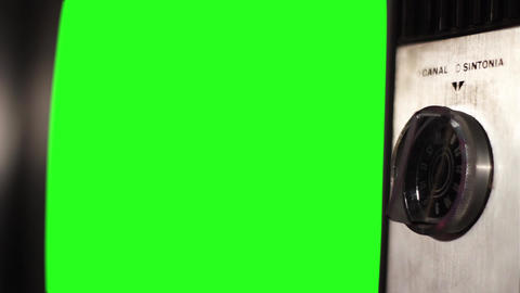 Vintage Tv Green Screen. Close-Up Shot Footage