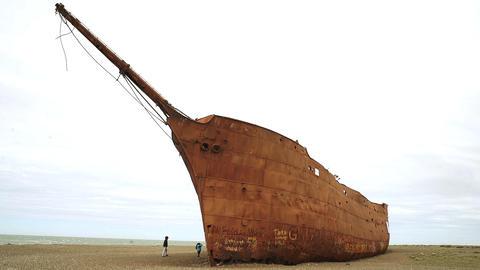 Wrecked Ship near Punta Loyola, in Santa Cruz Province (Patagonia Argentina) Footage