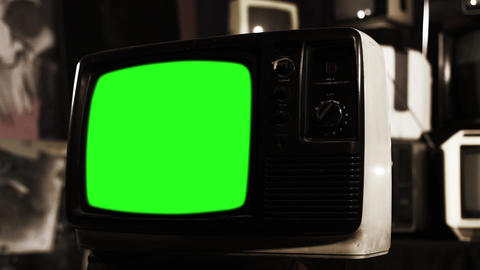 Old TV with Green Screen. Sepia Tone Into Color Live Action